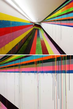 Colorful hallway mural at the Justiz Vollzugs Anstalt Prison in Düsseldorf, Germany by Markus Linnenbrink. #graffiti #art #mural