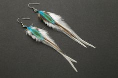 White feather earrings: real natural feather bohemian boho native american wedding bridal bridesmaid jewelry gift for her turquoise (13.00 USD) by NatureFeatherJewelry