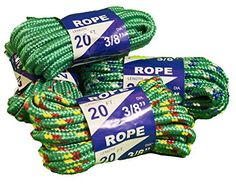 Rope 20ft 3/8 DIA Braided Solid Core Lightweight (Green) Color: Green, Model: 99020, Tools & Hardware store. Polypropylene and mixed synthetic core. lightweight and flexible, easy to knot. Economical and versatile, Rot and mildew resistant, U.V. stabilized. Multi color for high visability. Great for miscellaneous uses around the water.