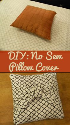 DIY No Sew Pillow Covers ~ just fold and tie fabric!   For throw pillows in the bedroom