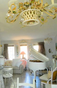 French Cottage style living room, white grand piano ~ (our home)