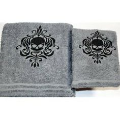 Halloween - Skull - Gothic Bath Towel Set, Gray with Black stitching