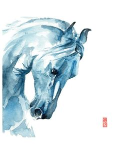 White Horse Watercolor Fine Art Giclee Print/ Animal painting/ Wildlife watercolor/ Horse lover gift