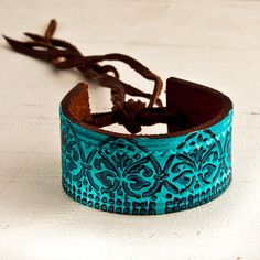 Turquoise leather cuff made from a vintage belt - by Rainwheel