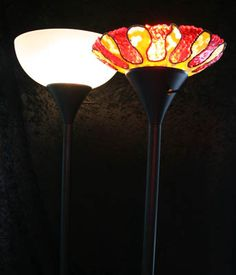 """Stained Glass"" lamp shade  - melted pony beads"