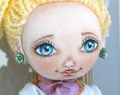 Textile doll, rag doll, fabric doll, cloth doll, art doll, vintage doll, interior doll, OOAK doll, home decor, doll - Vivien