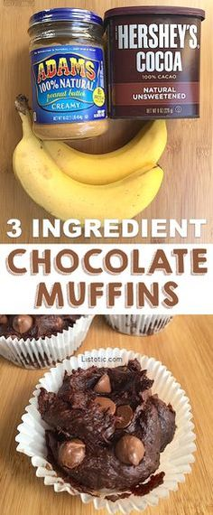 Healthy chocolate muffins made with just 3 ingredients! No sugar or flour! And, they are SO GOOD!