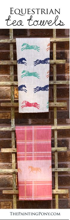cute horse lover TEA TOWELS - linen and cotton fabrics to choose from. Equestrian themed tea towel, hand or dish towels for the kitchen and bathroom home decor. Colorful and fun designs and patterns with horses and ponies printed all over.