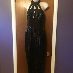NWT black long sequin dress Long black sequin halter dress. NWT. Size 3/4 Dresses Prom