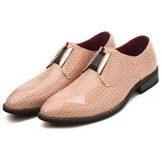 Buy Khaki Crocodile Leather Studded Wedding Prom Dress Shoes for Men SKU-1100802