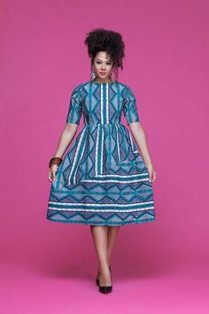 African Print Axelle Midi Dress| Grass-fields|  wear it high or low #africanfashion #africanprint #fashion #mididress #kente