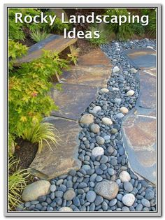 Many wanting to designed dry creek beds often end up with a drainage ditch. In terms of functions and form, they do not perform as a dry creek should perform. Truly, they help in pushing away the…More Pebble Patio, Slate Patio, Pebble Garden, Gravel Garden, Pebble Stone, Patio Bar, Garden Pool, Landscaping With Rocks, Front Yard Landscaping