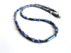 Mens sodalite necklace sodalite and hematite beaded necklace