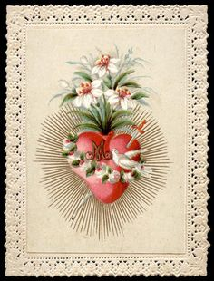 old holy card lace canivet santino merlettato SACRED HEART OF MARY