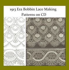 Bobbin Lace Patterns, 1913     These patterns were published in 1913. 32 pages, mostly patterns with no text instructions. First page has text in a Slavic language, could be Russian, not sure. 63 Bobbin Lace Patterns in all. For further page images and description for this volume, please click the image to go to our ebay listing.
