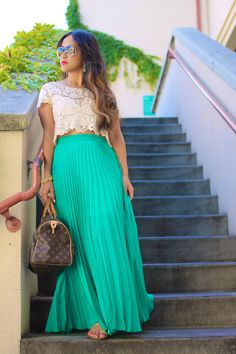 KTRstyle: Pleated Maxi and Lace Crop Top
