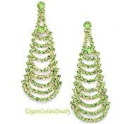 Peridot Lime Green Long Gold Crystal Prom Earrings Elegant Formal Jewelry