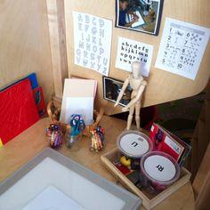 Writing center Post alphabet in different fonts Reggio Inspired Classrooms, Reggio Classroom, Classroom Organization, Literacy And Numeracy, Literacy Activities, Alphabet Activities, Writing Area, Pre Writing, Kindergarten Literacy