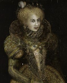 7. Northern Renaissance: Neck ruff, decorated rigid bodice, rigid cone skirt supported by verdugado. Sheer conch