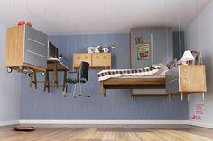 宙に浮いた家具でメッセージするロボット掃除機!?   AdGang