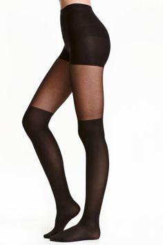 Collant façon chaussettes - Noir - FEMME | H&M FR 1