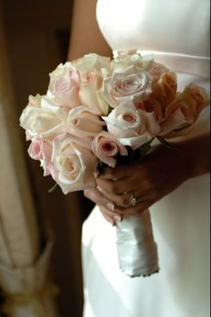 Bridal Bouquets: white,cream,blush rose roses