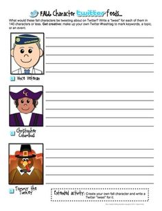Fall Creative Writing Activities & Handouts. Activities include holidays: Columbus Day, Veterans Day, Halloween, & Thanksgiving. Over 20 activities & themed writing paper templates.