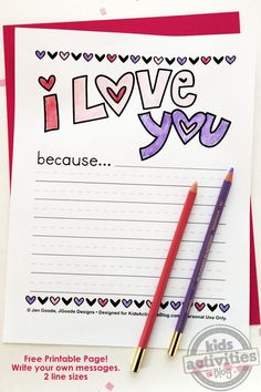 """I Love You Because"" free printable Valentine's Day activity for kids. So sweet!"