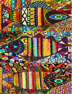 Solve EYE SEE 2192 jigsaw puzzle online with 108 pieces Bohemian Art, Posca, Mexican Folk Art, Fish Art, Aboriginal Art, Art Plastique, Tribal Art, Illustrations, Doodle Art