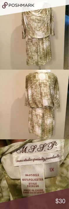 Green and cream MSSP dress Plus size 1X dress with elastic waistband. Only worn once excellent used condition. Max Studio Specialty Products. MSSP Max Studio Dresses