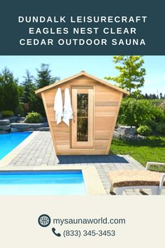 The unique form of the Eagles Nest Sauna provides you enough headroom to easily move around, AND its slightly reclined benches are very comfortable and relaxing! Know more about this sauna here! Traditional Saunas, Outdoor Sauna, Eagle Nest, Benches, Eagles, Shed, Outdoor Structures, Unique, Banks