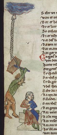 DIVINE INTERVENTION    Thomasin von Zerclaere, Der welsche Gast, Bavaria 1256.    Heidelberg, Universitätsbibliothek, Cod. Pal. germ. 389, fol. 75v