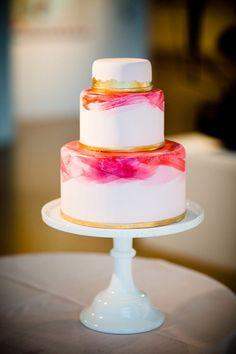 Watercolor Wedding Cake | via Glamour & Grace