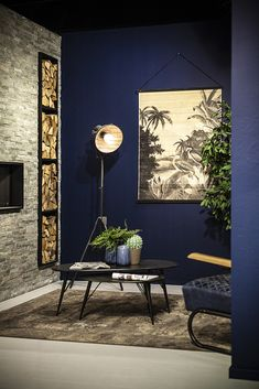 By-Boo Wandkaart Miyagi Jungle - Large Home Room Design, House Design, Jungle Scene, Miyagi, Blue Walls, Modern Interior Design, Room Inspiration, Decoration, Room Decor