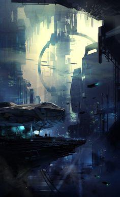 Cyberpunk Atmosphere, Future, Futuristic, Sci-Fi, concept ships: Concept ships by Daryl Mandryk