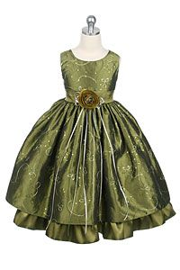#FlowerGirlDresses -Flower Girl Dress Style 142- Olive Sleeveless Sparkle Dress