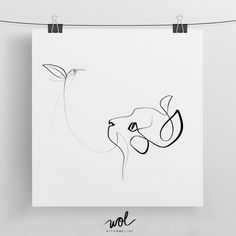 Minimal Cat With One Line 8x8 Limited Edition Print