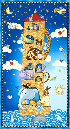 Sea Of Dreams Noah's Ark Panel Multi - Discount Designer Fabric - Fabric.com