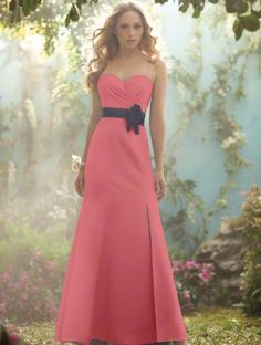 Beautiful satin bridesmaids dress with flower accent