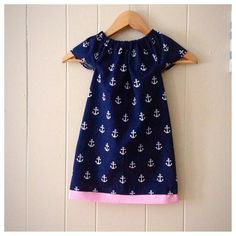 Anchor dress Girls peasant dress Toddler anchor by DressingBree
