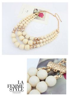 Promise Beige Big Beads Decorated Multilayer Design Alloy Korean Necklaces,Korean Necklaces  www.asujewelry.com