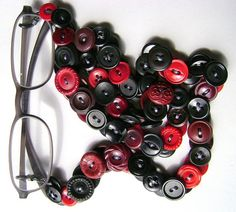 Eyeglass Chain in Vintage Buttons Reds and Black by MRSButtons on Etsy