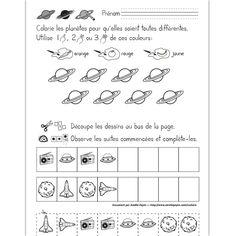 Fichier PDF téléchargeable En noir et blanc seulement 1 page  Dans cet exercice, l'élève doit colorier les 8 planètes pour qu'elles soient toutes différentes en utilisant une ou plusieurs des couleurs données. Il doit également compléter les suites logiques en découpant les dessins au bas de la page et en les plaçant au bon endroit.