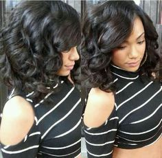 Medium Curly Bob Hairstyle for Black Women