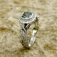 Square Cushion Cut 5x5 mm Light Green Sapphire and Diamond Leaf Engagement Ring 14K White Gold with Milgrain