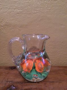 Clair Art Glass Ashtray Trumpet Flowers Hand Blown Paperweight Style St. Clair Vintage St