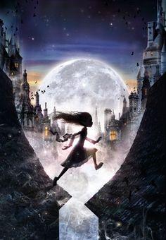 달, 소녀, 지붕, 밤, 애니메이션