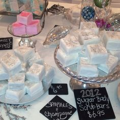Looks good enough to eat, but you can't!  This is a table full of Sugar Body Scrub Bars from Belle Ame'  Yum!
