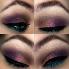 Eye look that combines the two most popular eye makeup colors for this season; teal and purple.