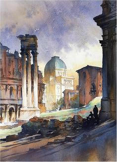 """""""Roman Light"""", 4 March 2016 By thomas w. schaller - watercolor artist, from NYC"""